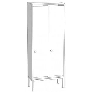Шкаф для раздевания 2-х секционный на м/к