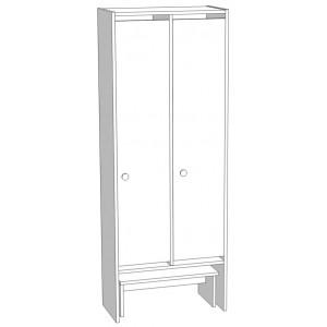 Шкаф для раздевания 2-х секционный со скамьей