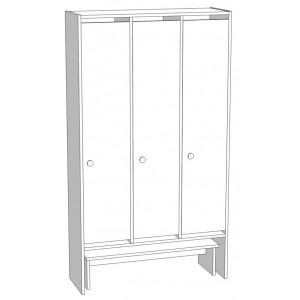 Шкаф для раздевания 3-х секционный со скамьей