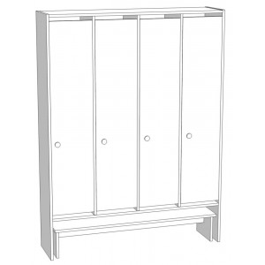 Шкаф для раздевания 4-х секционный со скамьей