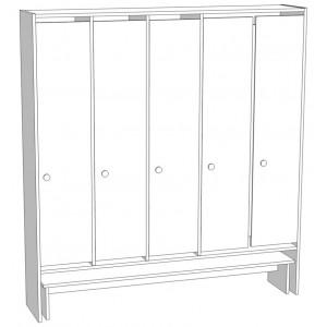 Шкаф для раздевания 5-и секционный со скамьей